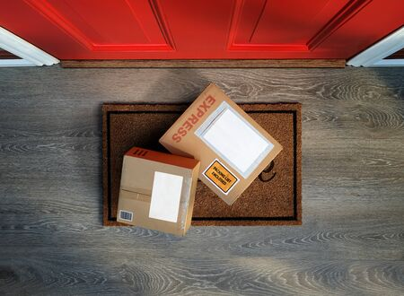 Boxes delivered to the door, easy to steal. Overhead view. Add your own copy to the labels