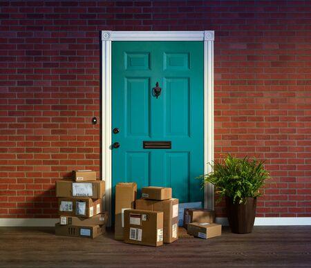 Online-Shopping, Kartons bis vor die Haustür geliefert. Einfach zu stehlen, wenn niemand zu Hause ist Standard-Bild