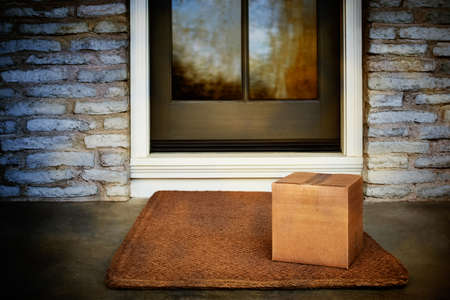 Delivered outside the door, e-commerce purchase on door mat. Add your own copy and label