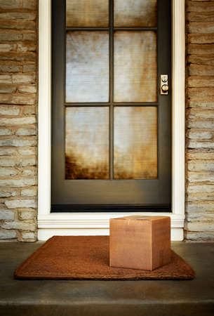 Box delivery to the front door of home. Add your own copy and labels. Copy space.
