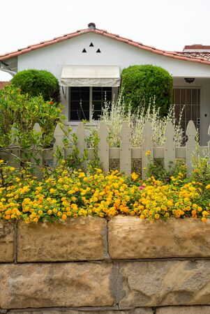 California garden planting example with flowers, wood fence, and other native plants