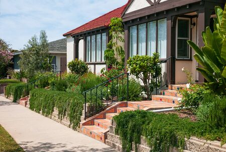 Southern California home landscape featuring a variety of plants that are drought-tolerant and beautiful