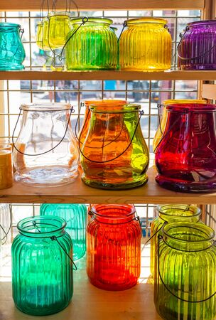 An assortment of glass jars on display at a Farmer's Market in California