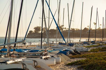 Catamarans on the coast in the sun in Santa Barbara, California