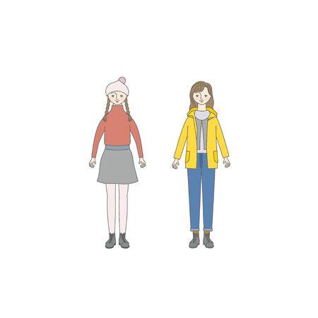 Niña sonriente (estilo otoño / invierno) Ilustración de vector