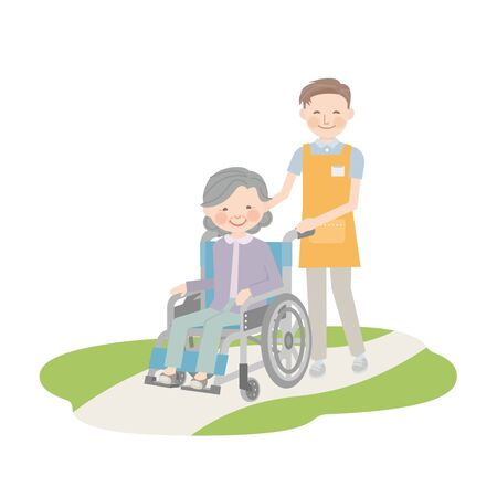Male caregiver and grandma pulling a wheelchair