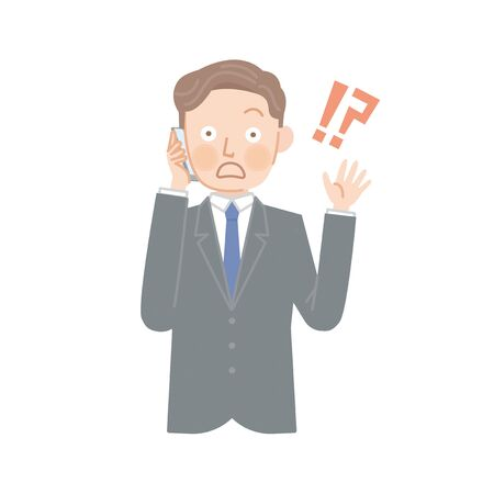 Surprised businessman surprised by the phone  イラスト・ベクター素材