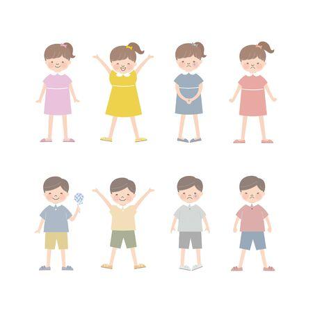 Children, Boys and Girls (Facial Expressions) 4 Ilustração