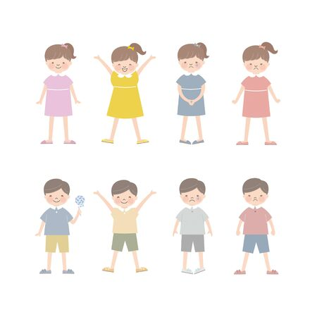 Children, Boys and Girls (Facial Expressions) 4 Illustration