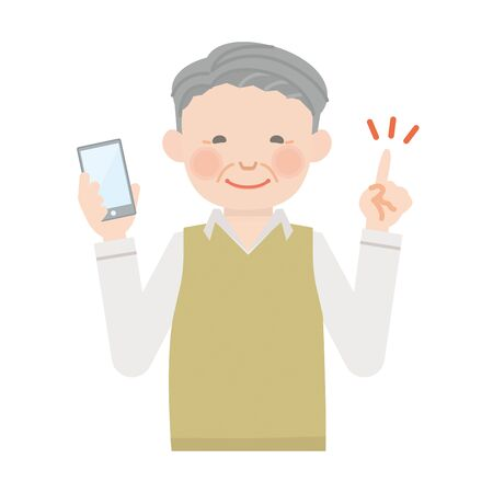 Elderly man with smartphone (grandpa)