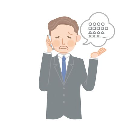 businessman making excuses on the phone  イラスト・ベクター素材