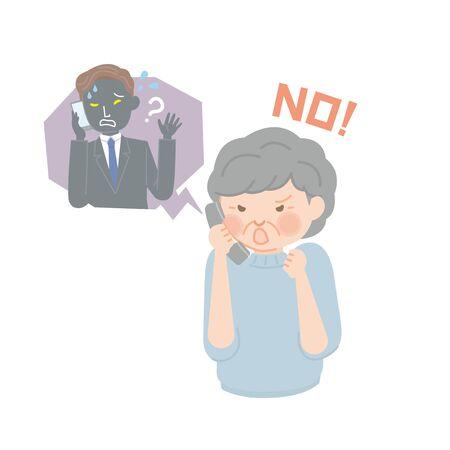 Senior woman who refuses fraud phone calls