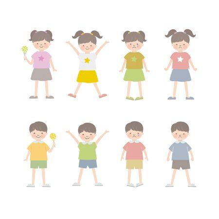 Children, Boys and Girls (Facial Expressions) 4 Иллюстрация