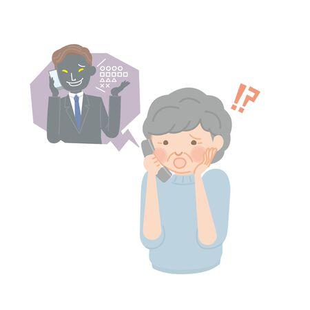 Femme âgée pressée sur téléphone frauduleux