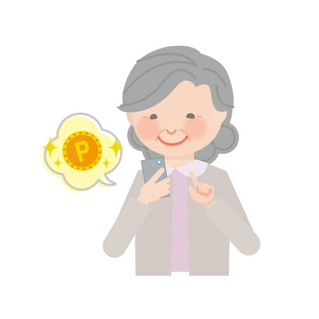 Elderly woman who operates the smartphone (point) Ilustração
