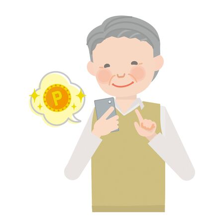 Elderly man who operates the smartphone (point) Illustration