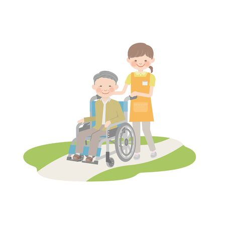 A caregiver and grandpa pulling a wheelchair