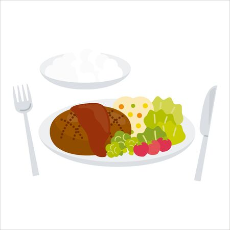 Hamburger set with rice