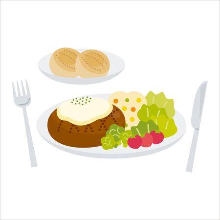 Cheese hamburger with bread