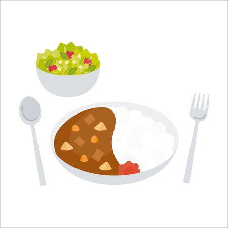 Orthodox curry rice with medium hot salad