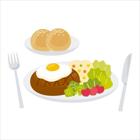 Hamburger with fried egg (with bread)