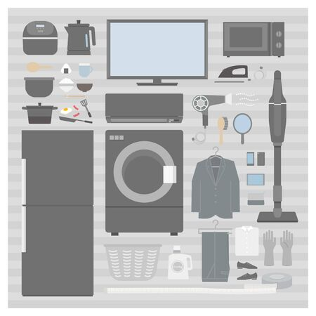Home appliance set (monotone) 1 - living alone Stock Illustratie
