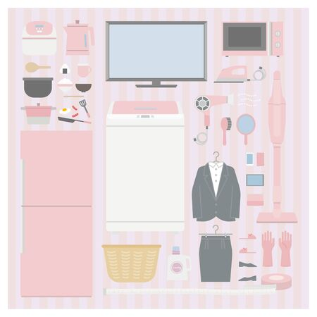 Home Appliance set (pink) 1 - living alone