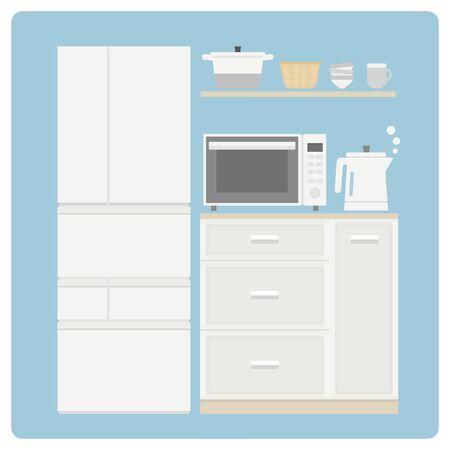 Cute little white kitchen set Illustration