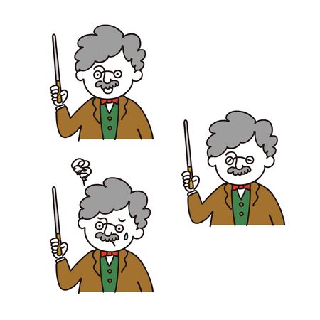 Professor Posing with a Stick - 3expressions set