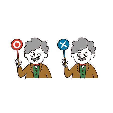 Professor posing circle or cross - japanese right/wrong sign