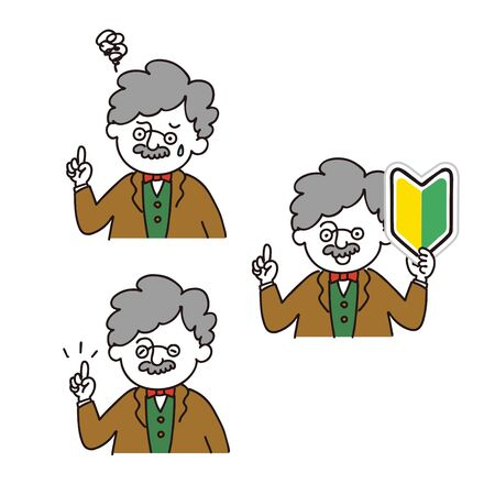 Professor posing with index finger - 3expressions set