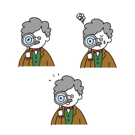 Professor posing with a magnifying glass - 3expressions set