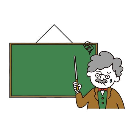 Professor posing with a stick pointing at the blackboard with troubled face