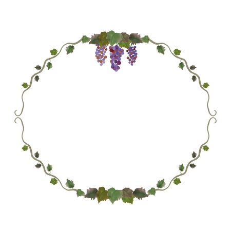 Watercolor frame composed of grapes and vines