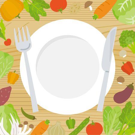fresh vegetables & dish frame