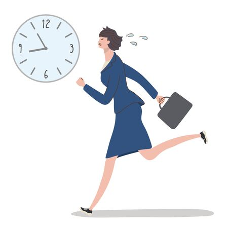 Working woman running at full power so as not to be late
