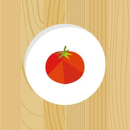 vegetable - tomato & wood frame Иллюстрация