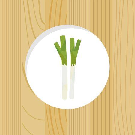 vegetable - green onion & wood frame
