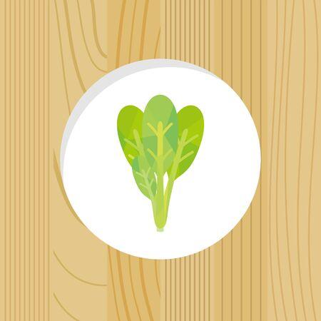 vegetable - Japanese mastered spinach & wood frame