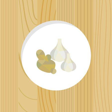 vegetable - garlic & ginger wood frame