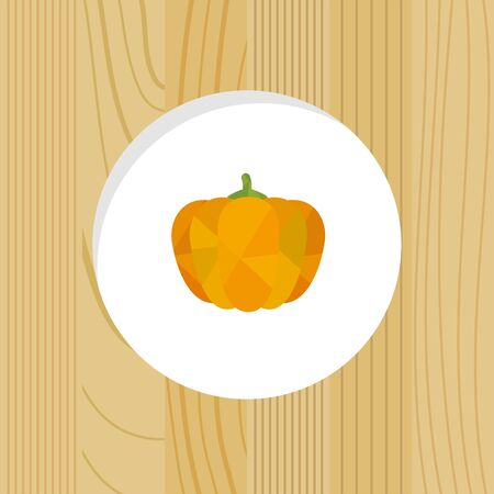 vegetable - pumpkin & wood frame