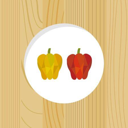 vegetable - bell peppers & wood frame