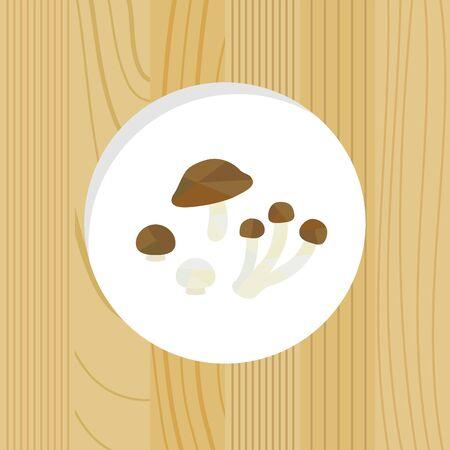 vegetable - mushrooms & wood frame Иллюстрация