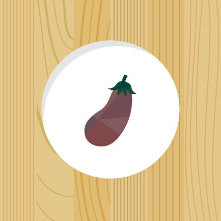 vegetable - eggplant & wood frame