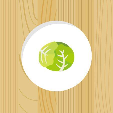 vegetable - cabegge & wood frame