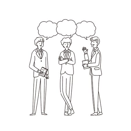 Three businessmen having a conversion - vector (line drawing)