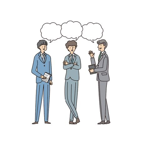 Three businessmen having a conversion - vector (line & fill) Иллюстрация