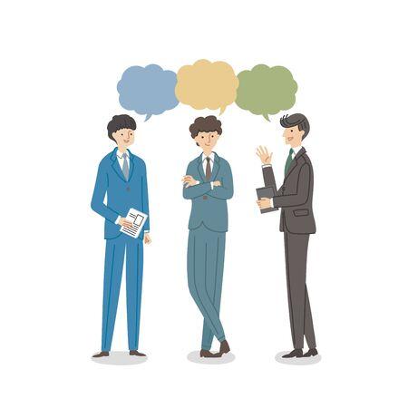 Three businessmen having a conversation - vector