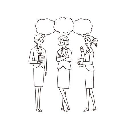Three Working Women Having a Conversion - Vector (stroke)
