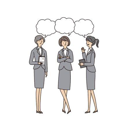 Three Working Women Having a Conversion - Vector (stroke &fill)